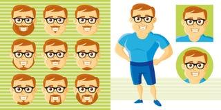 Καθορισμένος χαρακτήρας κινουμένων σχεδίων προσώπου ατόμων θερινού ύφους Στοκ Εικόνα