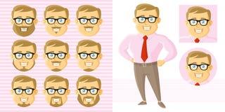 Καθορισμένος χαρακτήρας κινουμένων σχεδίων προσώπου επιχειρηματιών Στοκ εικόνα με δικαίωμα ελεύθερης χρήσης