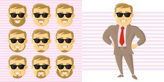 Καθορισμένος χαρακτήρας κινουμένων σχεδίων προσώπου επιχειρηματιών Στοκ Φωτογραφίες