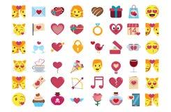 Καθορισμένος χαριτωμένος ζωηρόχρωμος emojis βαλεντίνων Αγίου kawaii που απομονώνεται διανυσματική απεικόνιση