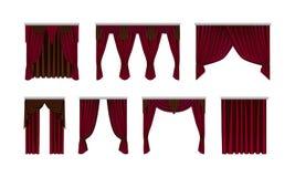 Καθορισμένος όμορφος, μετάξι, κουρτίνες βελούδου Διακοσμητικά εσωτερικά στοιχεία, ρεαλιστικές κουρτίνες απεικόνιση αποθεμάτων