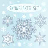 καθορισμένος snowflakes χειμώνας Στοκ Φωτογραφίες
