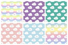 Καθορισμένο άνευ ραφής σχέδιο παιδιών με τα χαριτωμένα σύννεφα, αστέρια διανυσματικό άνευ ραφής σχέδιο μωρών απεικόνισης διανυσματική απεικόνιση