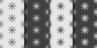 Καθορισμένο άνευ ραφής υπόβαθρο σχεδίων με snowflakes Στοκ Φωτογραφία