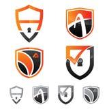 Καθορισμένο έμβλημα ασπίδων ασφάλειας λογότυπων Στοκ Φωτογραφία