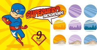 Καθορισμένο έξοχο διάνυσμα χαρακτήρα ηρώων υποβάθρου Superhero Στοκ Εικόνες