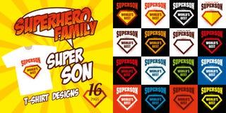 Καθορισμένο έξοχο σχέδιο μπλουζών superhero λογότυπων γιων Στοκ Εικόνες