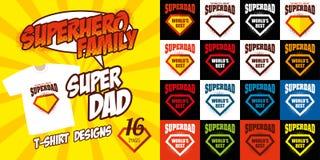 Καθορισμένο έξοχο σχέδιο μπλουζών superhero λογότυπων μπαμπάδων Στοκ εικόνες με δικαίωμα ελεύθερης χρήσης