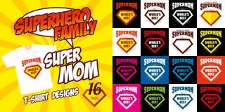 Καθορισμένο έξοχο σχέδιο μπλουζών superhero λογότυπων mom Στοκ Φωτογραφία