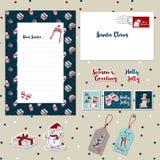 Καθορισμένο 2017-β γράμμα προτύπων Χριστουγέννων, λεύκωμα αποκομμάτων προτύπων φακέλων, γραμματόσημα, αυτοκόλλητες ετικέττες, διανυσματική απεικόνιση