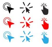 Καθορισμένο γεμισμένο διπλό χτύπημα διανυσματικό εικονίδιο εικονίδιο διπλόυ χτυπήματος ποντικιών ελεύθερη απεικόνιση δικαιώματος