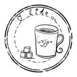 Καθορισμένο γραμματόσημο καφέ και ζάχαρης Στοκ φωτογραφία με δικαίωμα ελεύθερης χρήσης