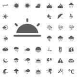 καθορισμένο διάνυσμα ήλιων llustration εικονιδίων Καιρικά διανυσματικά εικονίδια καθορισμένα Στοκ Εικόνα