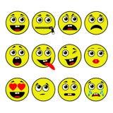 καθορισμένο διάνυσμα απεικόνισης emoticons χρωμάτων εύκολο editable ελεύθερη απεικόνιση δικαιώματος