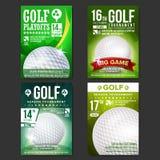 Καθορισμένο διάνυσμα αφισών γκολφ Σχέδιο για την προώθηση αθλητικών φραγμών γκολφ σφαιρών που χτυπά την κίνηση σιδήρου Σύγχρονα π διανυσματική απεικόνιση