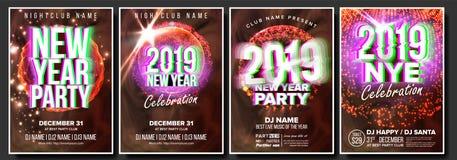 2019 καθορισμένο διάνυσμα αφισών ιπτάμενων κόμματος Εορτασμός λεσχών νύχτας Μουσικό έμβλημα συναυλίας καλή χρονιά πρότυπο εορτασμ διανυσματική απεικόνιση