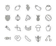 Καθορισμένο διάνυσμα εικονιδίων φρούτων Φρέσκια συλλογή τροφίμων περιλήψεων Καθιερώνον τη μόδα λεπτό ύφος γραμμών, απεικόνιση Ιστ Στοκ Εικόνες