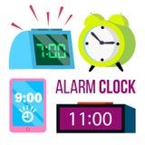 Καθορισμένο διάνυσμα ξυπνητηριών χρόνος πρώιμα επάνω ίχνη προθεσμία Χτυπώντας ρολόι πρωινού Κλασικός, ηλεκτρονικός Απομονωμένα κι ελεύθερη απεικόνιση δικαιώματος