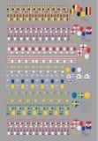 Καθορισμένο διάνυσμα σημαιών εμβλημάτων κόμματος εορτασμού για το διεθνή κόσμο απεικόνιση αποθεμάτων