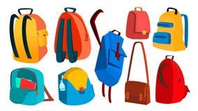 Καθορισμένο διάνυσμα σχολικών σακιδίων πλάτης Αντικείμενο εκπαίδευσης Εξοπλισμός παιδιών Ζωηρόχρωμη σχολική τσάντα Απομονωμένη απ απεικόνιση αποθεμάτων