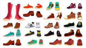 Καθορισμένο διάνυσμα υποδημάτων μοντέρνα παπούτσια μπότες Για τον άνδρα και τη γυναίκα ο Ιστός τρακτέρ εικονιδίων ανασκόπησης κύλ ελεύθερη απεικόνιση δικαιώματος
