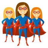 Καθορισμένο διάνυσμα χαρακτήρα κινουμένων σχεδίων Supermom γυναικών Superhero Στοκ φωτογραφία με δικαίωμα ελεύθερης χρήσης
