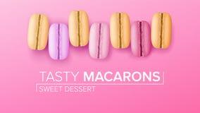 Καθορισμένο διάνυσμα Macarons Τοπ όψη Ζωηρόχρωμα γλυκά γαλλικά Macaroons στη ρόδινη απεικόνιση υποβάθρου απεικόνιση αποθεμάτων