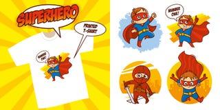 Καθορισμένο διανυσματικό σχέδιο απεικόνισης Superheroes χαρακτήρα Superhero στοκ εικόνα
