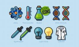 Καθορισμένο διανυσματικό σχέδιο εικονιδίων επιστήμης ελεύθερη απεικόνιση δικαιώματος