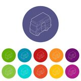 Καθορισμένο διανυσματικό χρώμα τροχόσπιτων van icons Στοκ Φωτογραφία