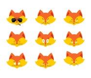 Καθορισμένο είδωλο emoji αλεπούδων λυπημένο και πρόσωπο ένοχος και ύπνος Β Στοκ φωτογραφία με δικαίωμα ελεύθερης χρήσης