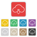 Καθορισμένο εικονίδιο σύννεφων στο επίπεδο υπόβαθρο Στοκ εικόνες με δικαίωμα ελεύθερης χρήσης