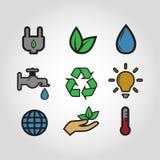 Καθορισμένο εκλεκτής ποιότητας ύφος εικονιδίων οικολογίας ζωηρόχρωμο Στοκ Εικόνες