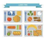 Καθορισμένο επίπεδο μεσημεριανό γεύμα διανυσματική απεικόνιση