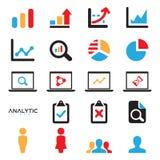 Καθορισμένο επίπεδο σχέδιο των στατιστικών και των εικονιδίων analytics με τα διαγράμματα και τα διαγράμματα ελεύθερη απεικόνιση δικαιώματος