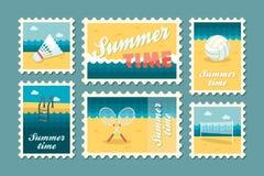 Καθορισμένο επίπεδο γραμματοσήμων καλοκαιριού Στοκ εικόνες με δικαίωμα ελεύθερης χρήσης
