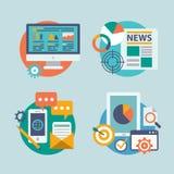 Καθορισμένο επίπεδο σχέδιο για το μάρκετινγκ Διαδικτύου Τα εικονίδια μπορούν Στοκ φωτογραφία με δικαίωμα ελεύθερης χρήσης