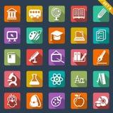 Καθορισμένο επίπεδο σχέδιο εικονιδίων εκπαίδευσης Στοκ εικόνες με δικαίωμα ελεύθερης χρήσης