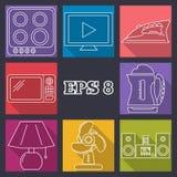 Καθορισμένο επίπεδο σχέδιο EPS 8 εικονιδίων εγχώριων συσκευών Στοκ Φωτογραφίες