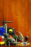 Καθορισμένο εργαλείο ξυλουργών πάγκων Στοκ εικόνα με δικαίωμα ελεύθερης χρήσης
