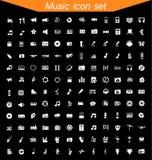 καθορισμένο λευκό μουσικής ανασκόπησης απομονωμένο εικονίδιο Στοκ Εικόνες