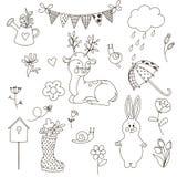 Καθορισμένο ελατήριο doodle Στοκ εικόνες με δικαίωμα ελεύθερης χρήσης