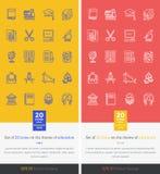 Καθορισμένο θέμα εικονιδίων της εκπαίδευσης και της εκμάθησης Στοκ Εικόνα