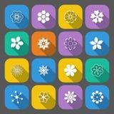 καθορισμένο διάνυσμα απεικόνισης κουμπιών floral Στοκ Φωτογραφίες