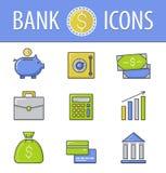 καθορισμένο διάνυσμα απεικόνισης τραπεζικών εικονιδίων διάνυσμα Στοκ Εικόνες