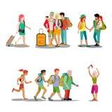 Καθορισμένο διάνυσμα Ιστού διακοπών εικονιδίων ανθρώπων οικογενειακών διακοπών διανυσματική απεικόνιση