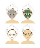Καθορισμένο διάνυσμα μιας όμορφης γυναίκας με μια του προσώπου μάσκα προσοχής Concept spa Στοκ Εικόνες