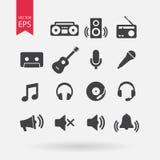 καθορισμένο διάνυσμα μο&up Επίπεδο σχέδιο Σημάδια μουσικής που απομονώνονται στο άσπρο υπόβαθρο Ακουστικά, υγιή στοιχεία για το σ Στοκ Εικόνα