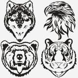 Καθορισμένο διάνυσμα λογότυπων αρκούδων λύκων αετών τιγρών διανυσματική απεικόνιση