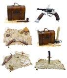 καθορισμένο διάνυσμα ράστερ πειρατών απεικόνισης Στοκ Εικόνες